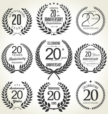 Illustration for Anniversary laurel wreath design, 20 years - Royalty Free Image