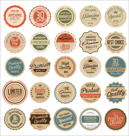 Photo pour Retro Premium Quality Labels - image libre de droit