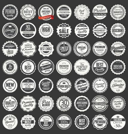 Illustration pour Premium, quality retro vintage labels collection - image libre de droit