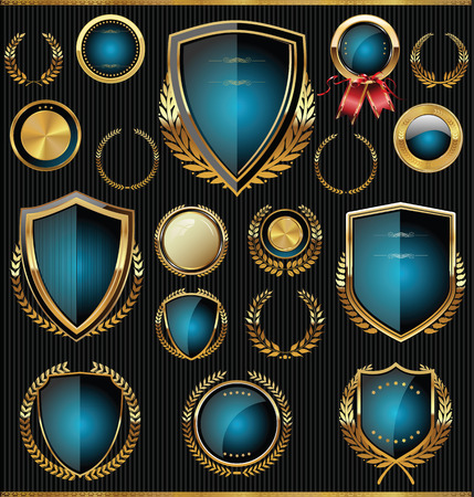 Illustration for Golden shields, laurels and medals collection - Royalty Free Image