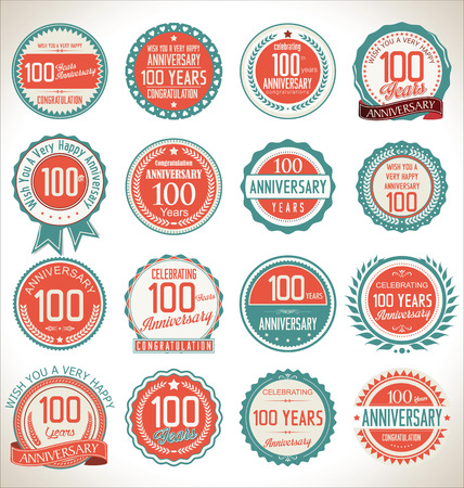 Illustration for Anniversary label collection, 100 years - Royalty Free Image