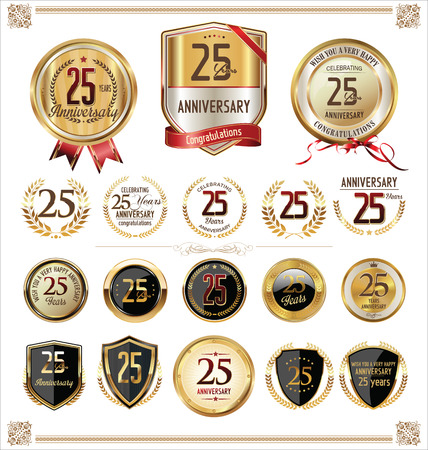 Illustration for Anniversary golden label 25 years - Royalty Free Image