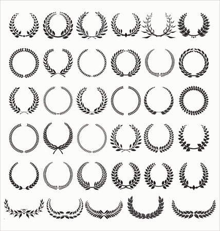 Illustration pour Laurel Wreaths Vector Collection - image libre de droit