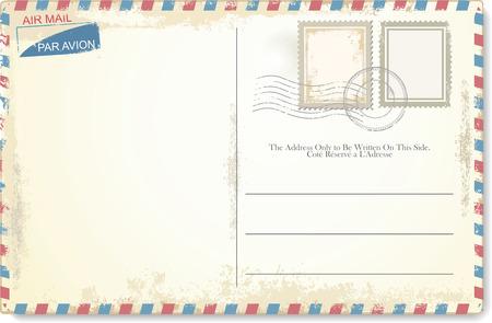Illustration pour Postcard vector in air mail style - image libre de droit