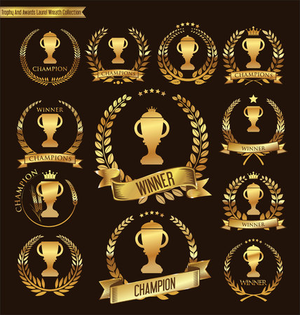 Illustration for Trophy and awards laurel wreath collection - Royalty Free Image