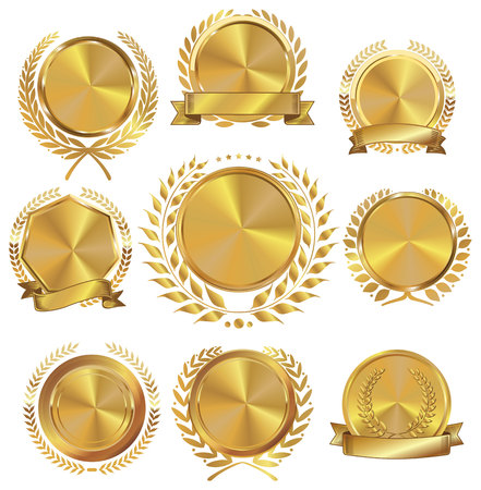 Illustration for Golden medallion with laurel wreath collection - Royalty Free Image