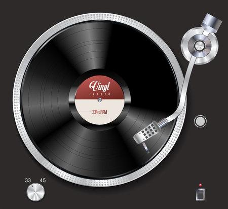 Illustration pour Turntable playing vinyl vector illustration - image libre de droit