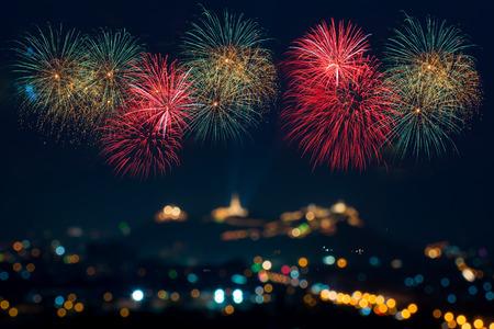 Photo pour Beautiful firework display for celebration - image libre de droit