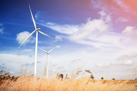 Photo for Wind turbine with blue sky, renewable energy - Royalty Free Image