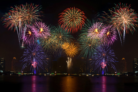 Photo pour Beautiful firework display for celebration with blur bokeh light background - image libre de droit