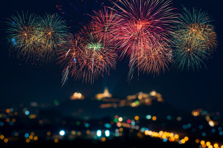 Photo for Beautiful firework display for celebration - Royalty Free Image