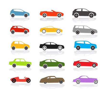 Modern and vintage color cars collection
