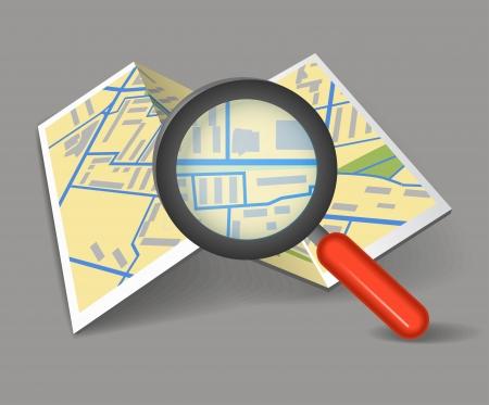 Photo pour Folded map with magnifying glass - image libre de droit