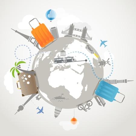 Foto de Travel illustration  Transportation and famous sights - Imagen libre de derechos
