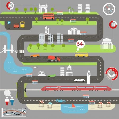 Photo pour Abstract city map with infographic elements - image libre de droit