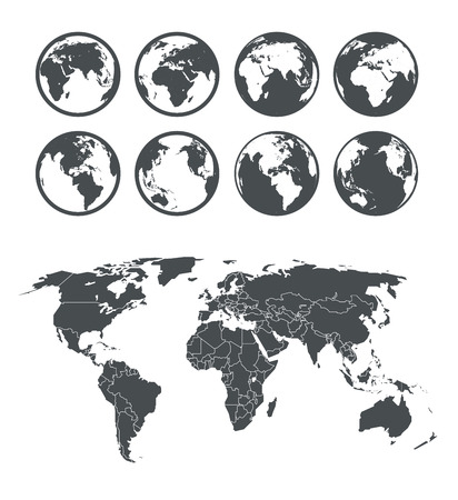 Illustration pour Globe and Earth map scheme collection. Selectable template - image libre de droit