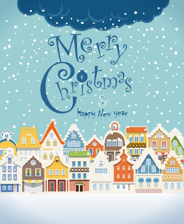 Illustration for Christmas greating card. Vintage buildings with snowfall on Winter - Royalty Free Image