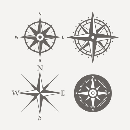 Ilustración de Wind rose retro design vector collection - Imagen libre de derechos