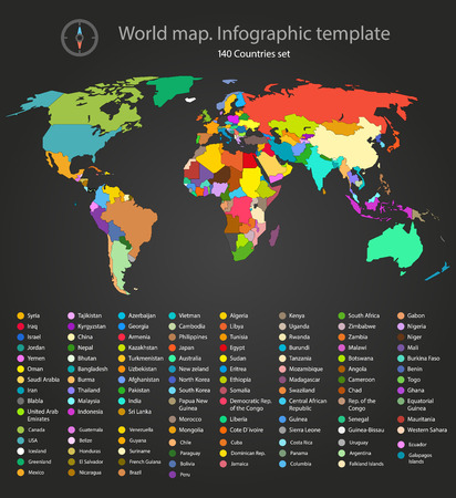 Illustration pour World map infographic template. All countries are selectable - image libre de droit