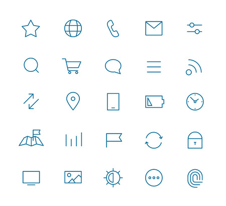 Photo pour Modern web and mobile application pictograms collection. Lineart intercece icons set - image libre de droit