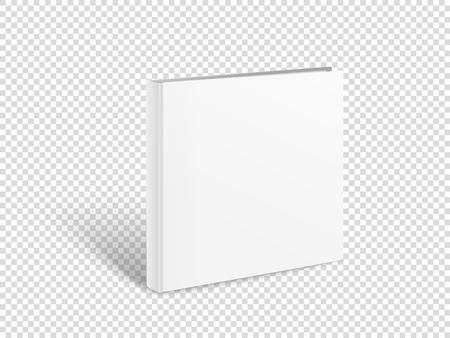 Ilustración de Blank square book vector mockup. Paper book isolated on transparent - Imagen libre de derechos