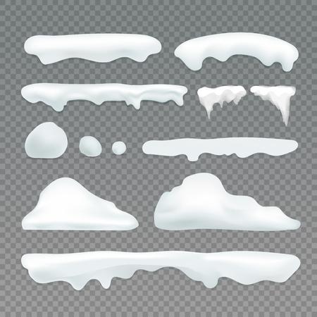 Illustration pour Vector icicles and snowcap elements on transparent background. Snow effects vector collection - image libre de droit