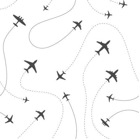 Illustration pour Different airplanes paths vector illustration - image libre de droit