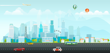 Ilustración de Landscape with buildings and vehicles. Morning city life - Imagen libre de derechos