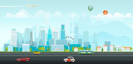 Illustration pour Landscape with buildings and vehicles. Morning city life - image libre de droit
