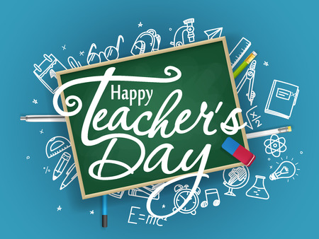 Illustration pour School chalkboard with different stuff. Happy teachers day greeting card - image libre de droit