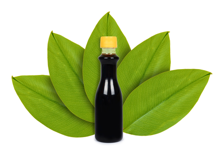Foto de Bottle of soy sauce on the background of green leaves. Isolated on white. concept of natural origin - Imagen libre de derechos