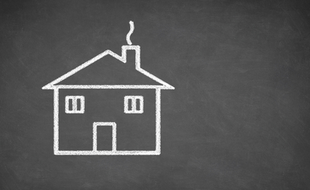 Photo for House drawing on chalkboard. White chalk and balckboard - Royalty Free Image
