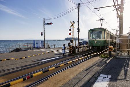 Foto de Landscape railway view of Enoden, Japan - Imagen libre de derechos