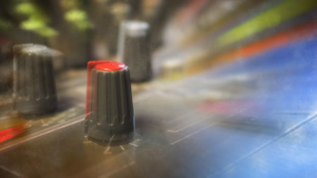 Photo for Adjust the volume of the audio mixer. - Royalty Free Image