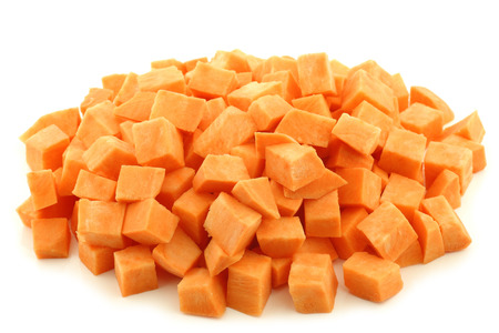 Photo for Sweet potato cubes on a white background - Royalty Free Image