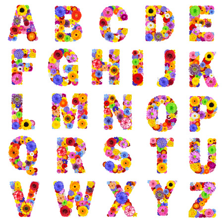 Photo pour Full Floral Alphabet Isolated on White Background.  Letters A to Z made of many colorful and original flowers - image libre de droit
