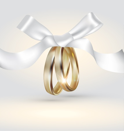 Illustration for Golden  wedding rings with ribbon - Royalty Free Image