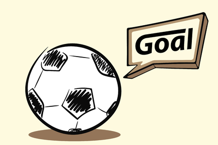 Illustration pour Soccer ball with a goal vector illustration. - image libre de droit