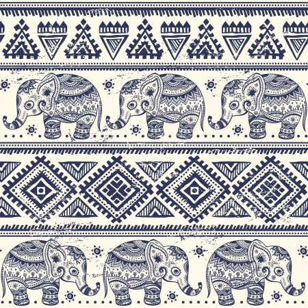 Illustration pour Ethnic elephant seamless pattern  - image libre de droit