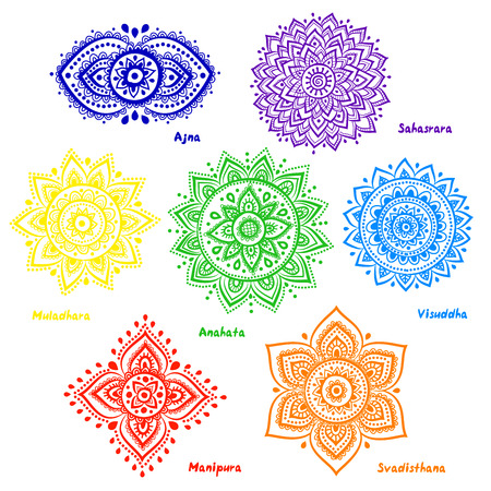 Illustrazione per Isolated Set of beautiful ornamental 7 chakras  - Immagini Royalty Free