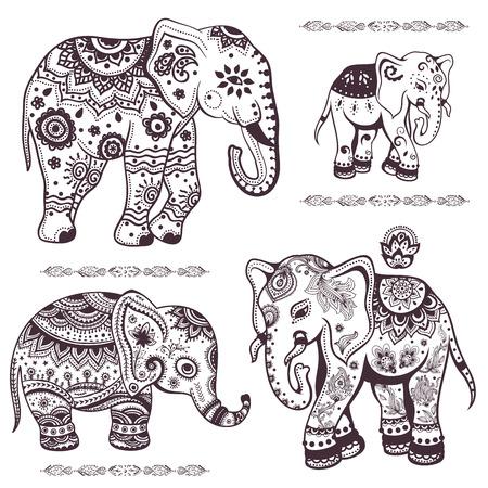 Set of hand drawn isolated ethnic elephants