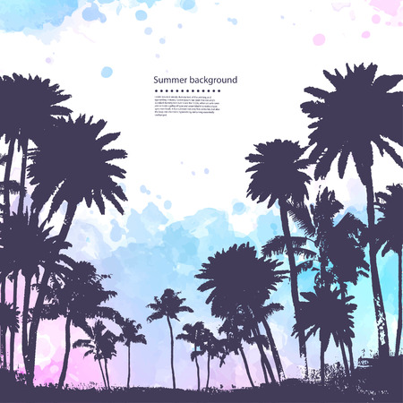 Illustration for Vector Palm trees illustration for your business - Royalty Free Image