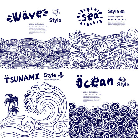 Ilustración de Vintage set of banners with ethnic waves can be used as a greeting card - Imagen libre de derechos