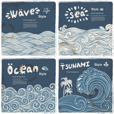 Illustration for Vintage set of banners with ethnic waves can be used as a greeting card - Royalty Free Image