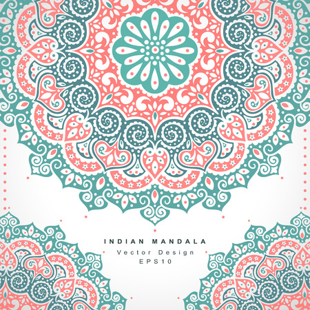 Photo for Beautiful Vector Indian floral ornament. Wedding Invitation. Greeting card - Royalty Free Image