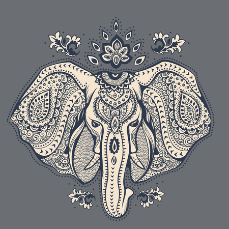 Illustration for Vintage elephant illustration can be used as a greeting card - Royalty Free Image