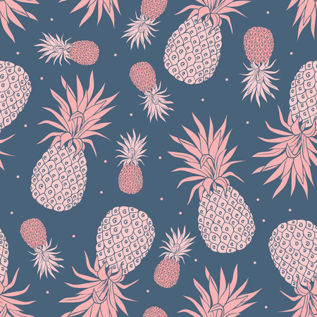 Photo pour Vector Vintage pineapple seamless pattern with flowers - image libre de droit