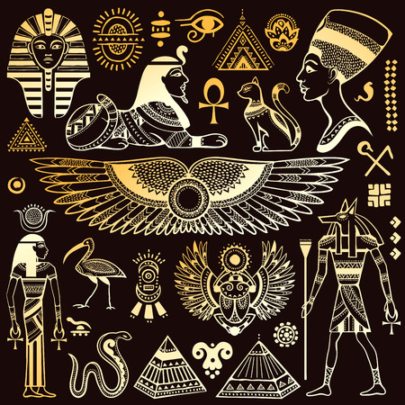 Illustration for Set of Vector isolated Egypt symbols and objects - Royalty Free Image
