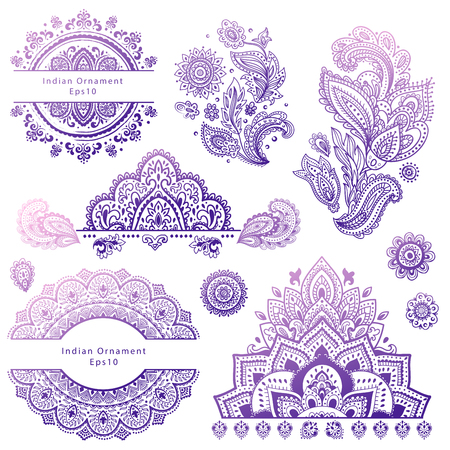 Illustration for Set of Indian floral ornaments. Mandala. Henna - Royalty Free Image