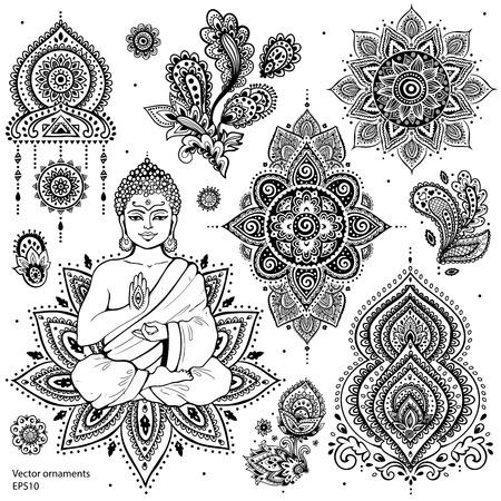 Illustration for Set of ornamental Indian elements and symbols - Royalty Free Image